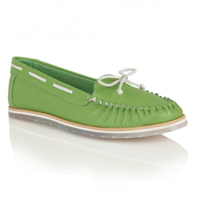 Lotus Ismay Green Leather Slip-On Loafers