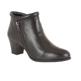 Ivoire Black Leather Heeled Ankle Boots