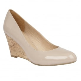 Jelico Nude Shiny Wedge Shoes