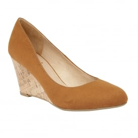 Jelico Tan Microfibre Wedge Shoes