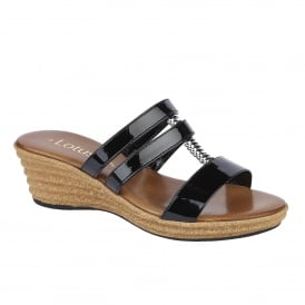 Jolly Black Shiny Wedge Sandals