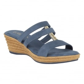 Jolly Blue Microfibre Wedge Sandals