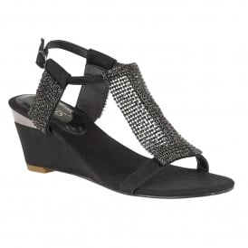 Klaudia Black & Chainmail Wedge Sandals
