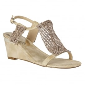 Klaudia Gold & Chainmail Wedge Sandals