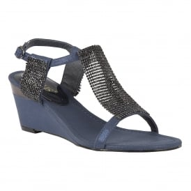 Klaudia Navy & Chainmail Wedge Sandals