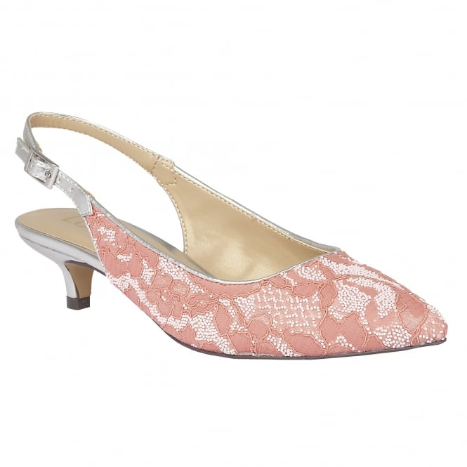 Lotus Kohar Coral-Lace Textile Sling-Back Court Shoes