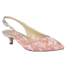 Kohar Coral-Lace Textile Sling-Back Court Shoes