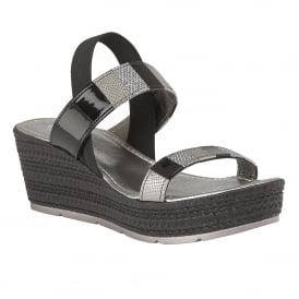 Langmead Black-Multi Elastic Wedge Sandals