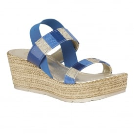 Langmead Blue-Multi Elastic Wedge Sandals