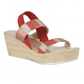 Langmead Red-Multi Elastic Wedge Sandals