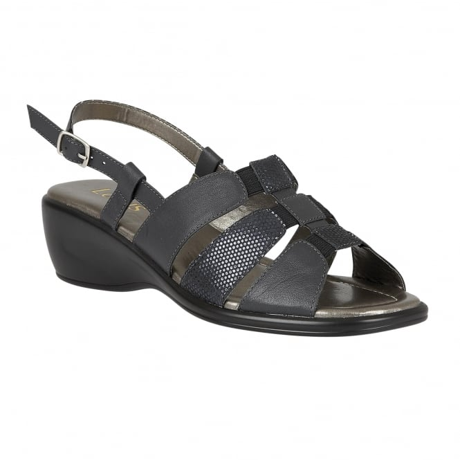Lotus Lantic Navy Leather Sling-Back Sandals
