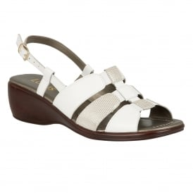 Lantic White Leather Sling-Back Sandals