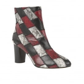 Laura Black Multi Snake Print Heeled Boots
