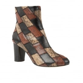 Laura Brown Multi Snake Print Heeled Boots