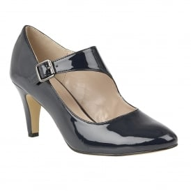 Laurana Navy Shiny Heeled Court Shoes