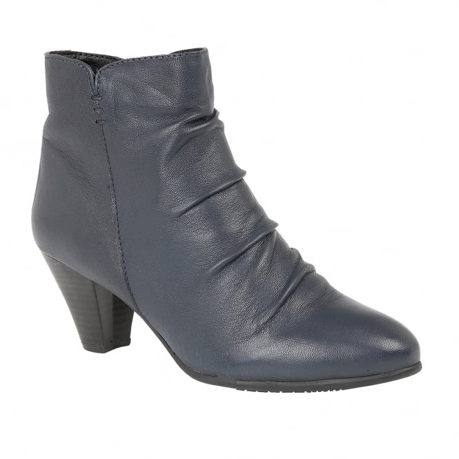 Lotus Lausanne Navy Leather Heeled Boots