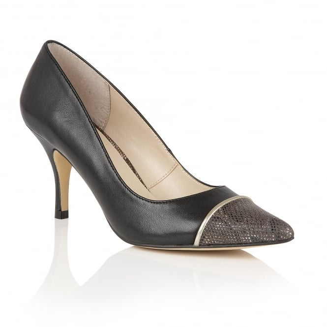 Lotus Leilani Black Leather & Bronze Snake Print Court Shoes