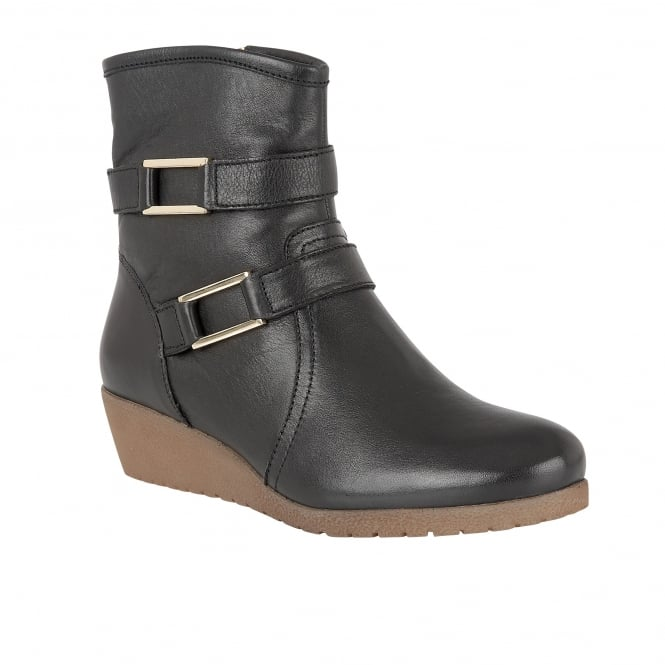 Lotus Loradi Black Leather Ankle Boots