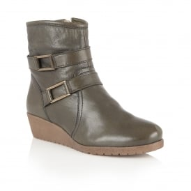 Loradi Green Leather Ankle Boots