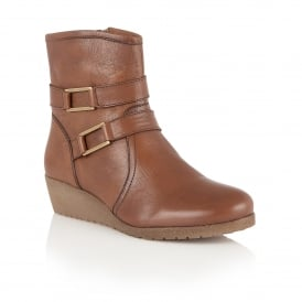 Loradi Tan Leather Ankle Boots