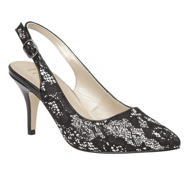 Lotus Lowyer Black & White Textile Sling-Back Court Shoes
