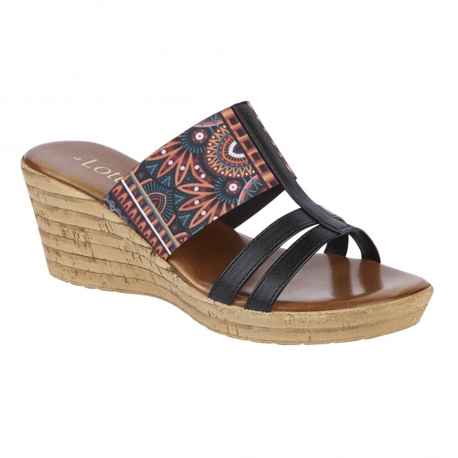 Lotus Ludovica Black & Multi Elastic Wedge Sandals