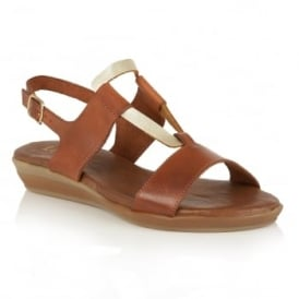 Luxmore Tan & Gold Leather Sandals