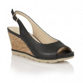 Maron Black Leather Sling-Back Wedge Sandals