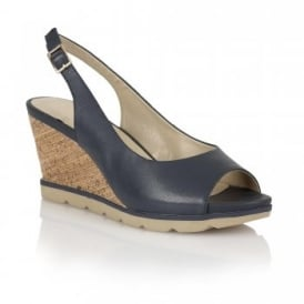 Maron Navy Leather Sling-Back Wedge Sandals