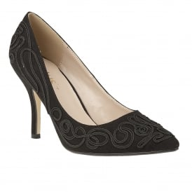 Matin Black Microfibre & Black Court Shoes