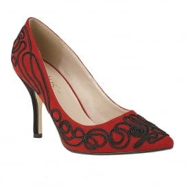 Matin Red Microfibre & Black Court Shoes