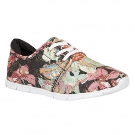 Meadow Black Multi-Flower Textile Lace-Up Trainers