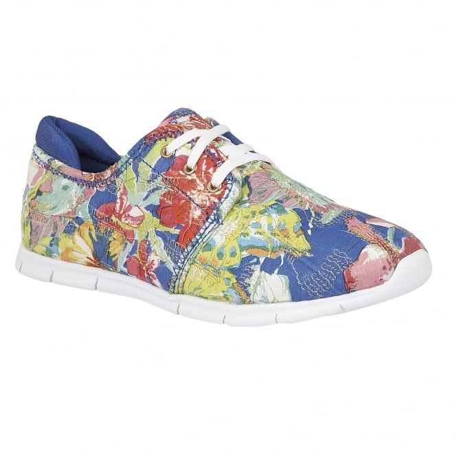 Lotus Meadow Blue Multi-Flower Textile Lace-Up Trainers