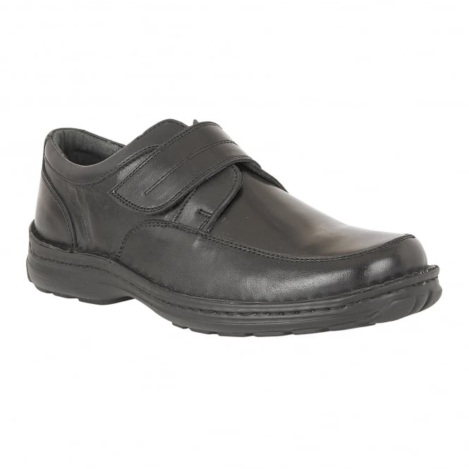 Lotus Men's Canley Black Smooth Leather Velcro Shoes