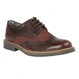 Men's Castell Burgundy Rub Off Leather & Suede Brogues