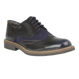 Men's Castell Navy Rub Off Leather & Suede Brogues