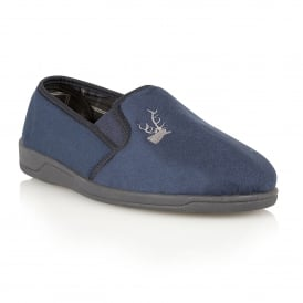 Men's Jack Navy Micro-Suede Slippers