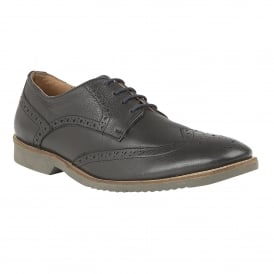 Men's Newing Black Leather Brogues