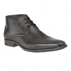 Men's Rickard Black Leather Lace-Up Boots
