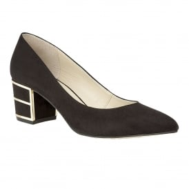 Mercy Black Microfibre Block Heel Court Shoes