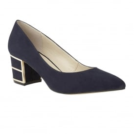 Mercy Navy Microfibre Block Heel Court Shoes