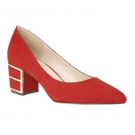 Mercy Red Microfibre Block Heel Court Shoes