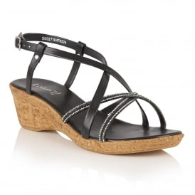 Merida Black Wedge Strappy Sandals