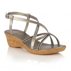 Merida Pewter Wedge Strappy Sandals