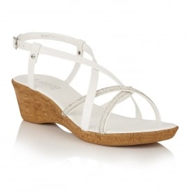 Merida White Wedge Strappy Sandals
