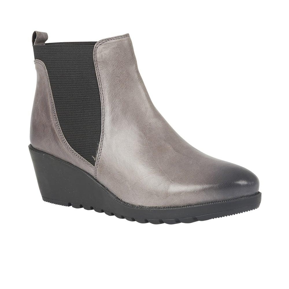 lotus meryl grey leather wedge ankle boots boots from