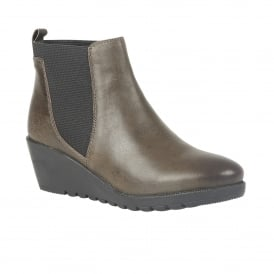 Meryl Olive Leather Wedge Ankle Boots