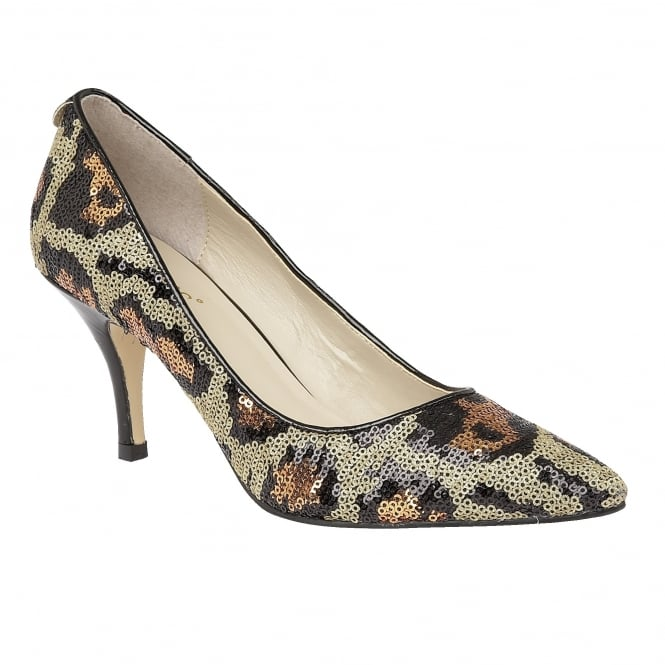 Lotus Mosta Leopard Sequins Pointed-Toe Court Shoes