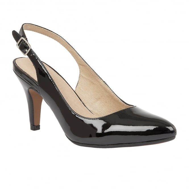 Lotus Nadia Black Shiny Sling-Back Court Shoes