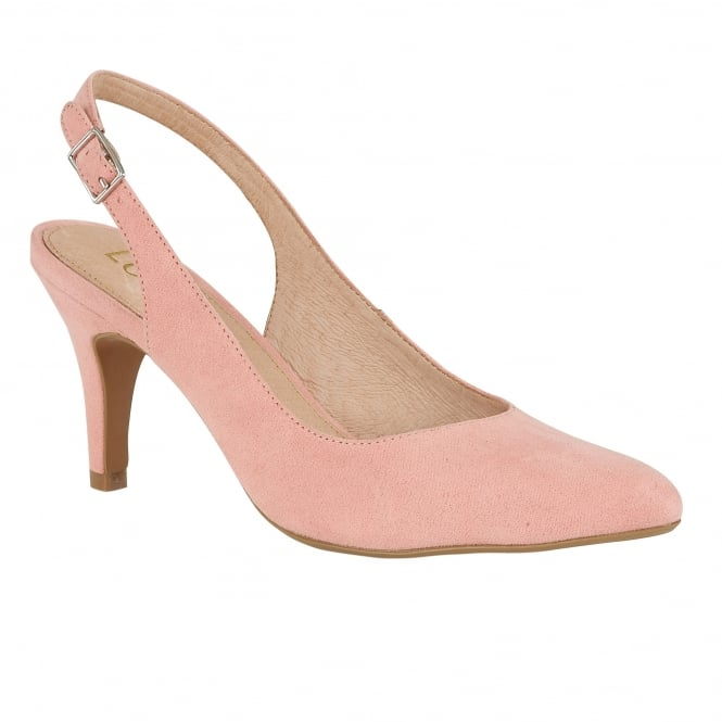 Lotus Nadia Pale Pink Microfibre Sling-Back Court Shoes
